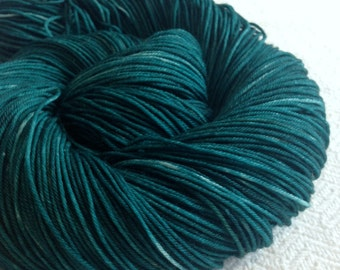 Hand Dyed Sock Yarn Sea Monster Dark Teal Hand Painted sockyarn 463 yards hand dyed turquoise fingering weight Treasured Toes
