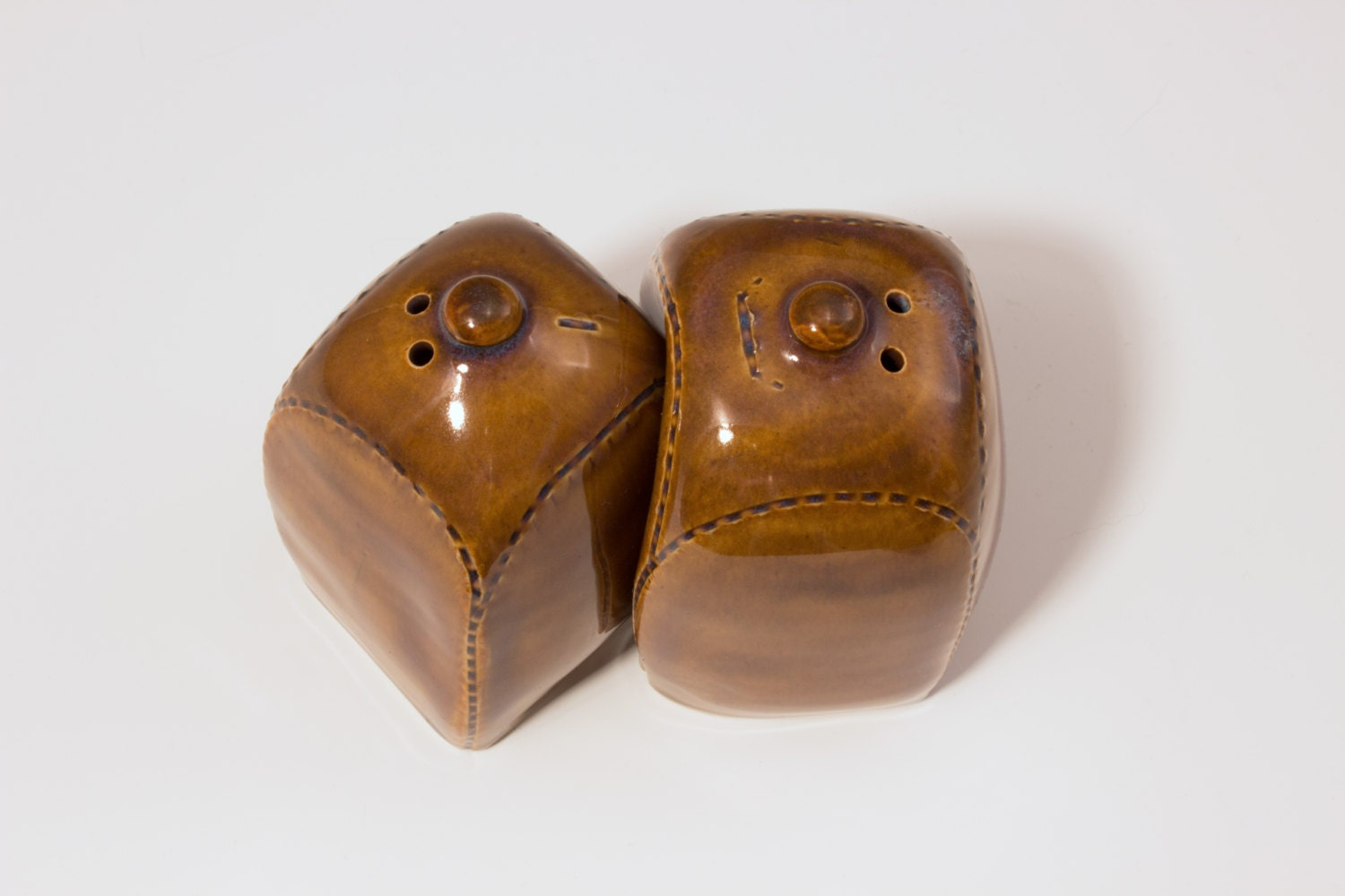cute face salt and pepper shakers in brown by chatnoirpottery