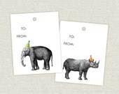 Elephant and Rhinoceros Party Hat Gift Tags