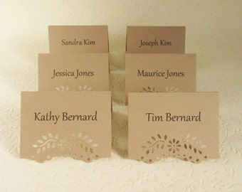 100 Personalized Rustic Eyelet Vine Edge / Wedding Placecards/ Free Standing/ Reception, Escort Cards, Rehearsal Dinner, Elegant
