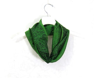 Sari Silk Infinity Scarf Gift for Her Circle Scarf Spring Scarf Summer Scarf Lightweight Scarf Green Scarf Upcycled Scarf OOAK Eco Fashion