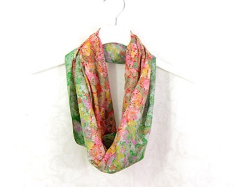 Floral Scarf Sari Silk Infinity Scarf Spring Scarf Summer Scarf Gift for Her Lightweight Scarf Silk Scarf Upcycled Scarf Eco Fashion OOAK