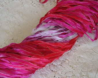 New - Hand Dyed HEART-THROB glitters ribbon, 5 yards