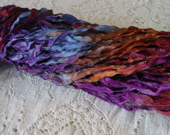 Beautiful - Hand Dyed Ribbon MULBERRY dark shimmer edge ribbon, 5 yards