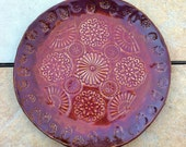 Stoneware Plate or Small Platter Richly Glazed Red