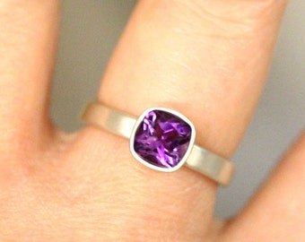 African Deep Amethyst Sterling Silver Ring, Gemstone RIng, Cushion Shape Ring, Eco Friendly, Engagement Ring, Stacking Ring - Made To Order