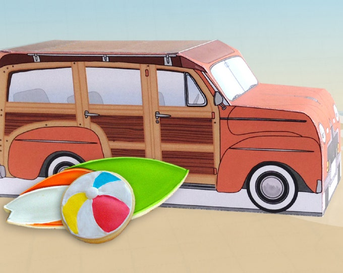 Orange Retro Woodie Surfer Wagon Box - great as cupcake box, gift box or favor box - INSTANT Download DIY Printable PDF Kit