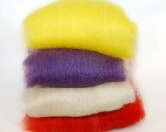 BFL/Silk Yellow Purple White Red Batts - 4 ounces