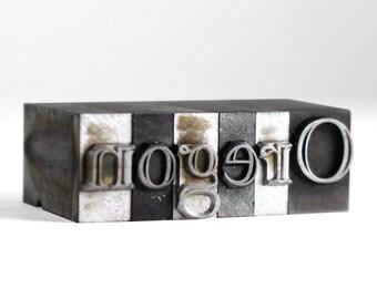 OREGON - 36pt Vintage Metal Letterpress