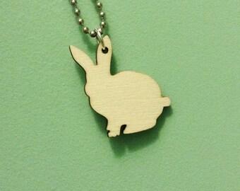 Rabbit Shape Necklace, Easter Bunny Rabbit in Light Birch Wood, Wooden Pendant, Animal Shape