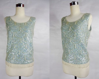 1960's Vintage Blue Scalloped Sequin Tank Top with Beads
