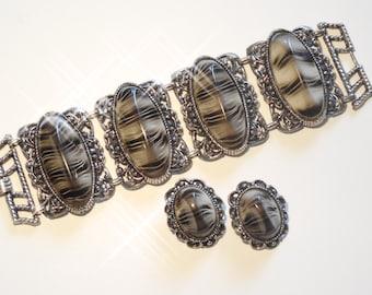 1950s Vintage Large Selro Chunky Black and Gray Bracelet & Earring Set
