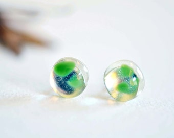 925 sterling silver Transparent mineral green glass stud earrings