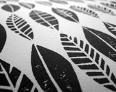 LINOCUT PRINT - Leaf collection pattern - black block print 8x10 circles mid century modern