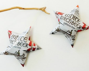 White Birch Beer Star Ornaments - Native American Indian Canoe, Indian Brave Christmas Ornaments, Recycled Aluminum Can star, Caffeine Free