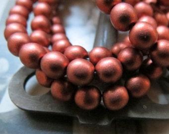 NEW . Pure Copper Druks . Czech Metallic Faceted Glass Beads . 6 mm .  (25 beads)