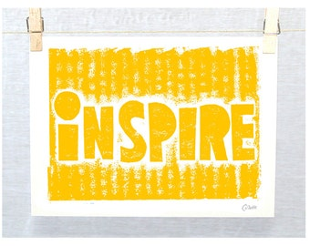 INSPIRE Print, Positive Quote, Relief Print, Typography Wall Art, Inspire