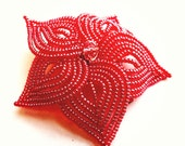 Roses are Red - Large French Beaded Flower Hair Clip