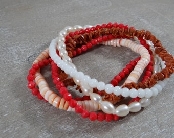Pink Red and White Stack of gemstone bracelets yoga bracelets - coral, goldstone, shell and pearl