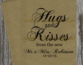 10PAK Hugs and Kisses from the new Mr Mrs / WEDDING Cookie Candy Buffet Party Favor Gift Bags / Vintage Rustic / 3 Day Ship