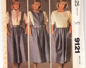 Classic 1984 McCall's 9121 Sewing Pattern Misses' Skirt, Straps and Bibs Size 10 Bust 32-1/2