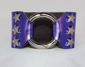 Silver Star Studded Ring Clasp Cuff  on Purple Metallic Leather support your favorite team by Rockin its Colors