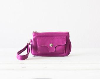 Wristlet wallet phone case in hot pink leather, womens wallet clutch cellphone case zipper wallet - Thalia Wallet