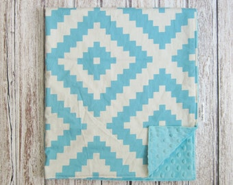 Cream and Blue Aztec Baby Blanket, Minky Baby Blanket, Blue Baby Blanket