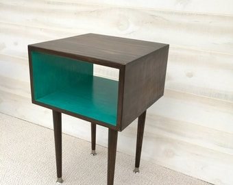 The Side Table Mid Century Modern Side Table Chocolate and TEAL Furniture Midcentury Bed Side Table End Table