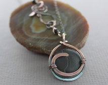Captured chalk black color banded agate copper pendant on chain with a decorative clasp - Copper necklace - Stone pendant necklace