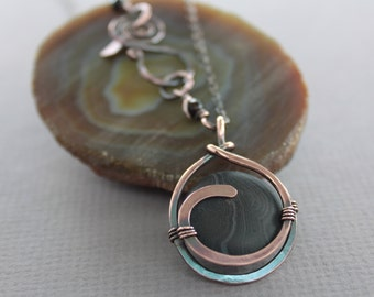 Captured chalk black color banded agate copper pendant on chain with a decorative clasp - Copper necklace - Stone pendant necklace - NK007