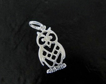 Sterling Silver Owl Charm 11x21mm