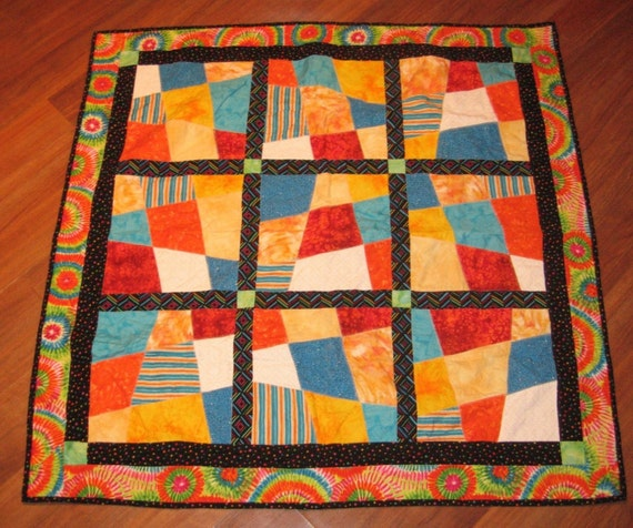 Crib Quilt Size: Colorful Crazy Quilt Crib Size Or Wall By FATQUARTERFRIENDLY