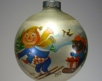 1973 Rageddy Andy Glass Ornament by Corning Glass, Christmas Ball, Holiday Home Decor, Xmas Tree Decor