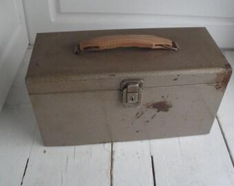 Vintage Metal File Box Brown Industrial Rusty