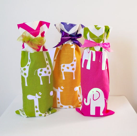 Baby Shower Hostess Gift Ideas Etsy : Baby shower wine bags pack hostess gifts
