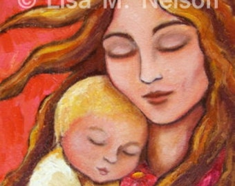 Mother and Child Gritty Painting Giclee LE PRINT of my Original Folk Art Painting 8/50