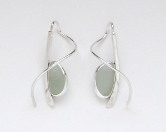 Sea Glass Jewelry - Sterling Seafoam Sea Glass Earrings with a Twist