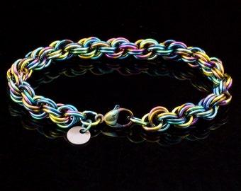 Niobium Double Spiral Chainmaille Bracelet