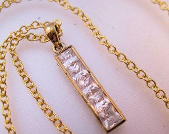 "CZ Princess Cut Journey Pendant Sterling Vermeil & 18"" 18k GF Chain Vintage Jewelry Jewellery FREE Shipping"