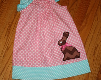 sweet little girls Easter dress with chocolate bunny rabbit applique size 12, 18, 24, month, 2t, 3t, 4t, 5t, 6, 7,multi chevon, toddler