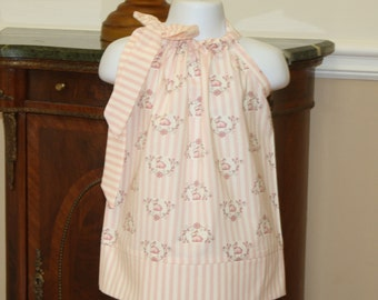 Easter Pillowcase dress, pink baby bunnies, Lily will Bunny Hill Rabbit Easter dress pink, newborn, 3, 6, 9, 12, 18, 24 month, 2t, 3t, 4t, 5