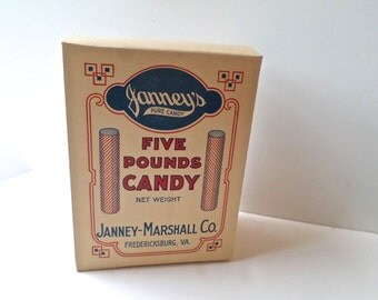 Vintage Advertising Candy Box, Janney-Marshall Co, Candy Ephemera, New Old Stock, Candy Advertising, deadstock advertising