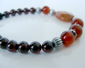 Carnelian garnet fire agate bracelet, asymmetrical, handmade, genuine gemstones, deep red orange, Let Loose Jewelry, for her, under 50