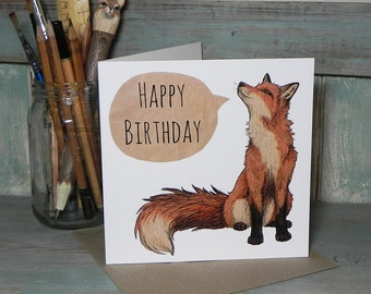 Red Fox Illustration Square Happy Birthday Card - 280gsm White Card 150 x 150mm Blank Inside with Brown Recycled Envelope