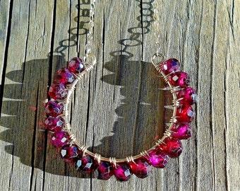Garnet and Gold Horseshoe Necklace / Genuine Gemstones / Lucky Horseshoe / 14k Goldfill Gift For Her
