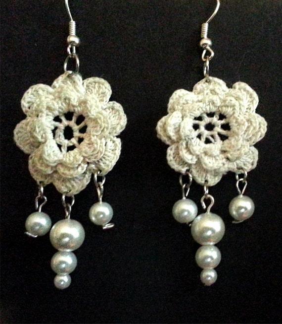 Crochet Hook Earrings: Items Similar To Wild Rose Crocheted Earrings Irish