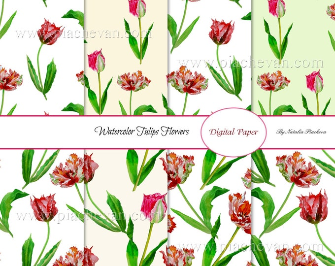 Digital paper with watercolor tulips, watercolor flowers, scrapbooking, bouquet, flowers, botanical, tulip, Mothers day, spring, wedding
