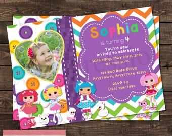 Rag Doll Birthday Photo Invitation