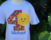 Embroidered Lego Birthday Shirt Blockhead Shirt Lego Shirt Personalized, Any Age by Sprinkles of Love